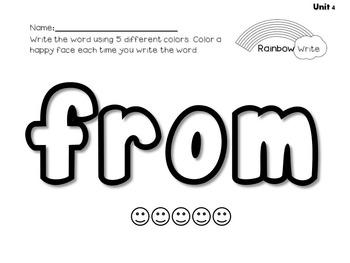 Journeys Kindergarten Sight Words-Rainbow Write (2 files~ 40 or 88 Words)