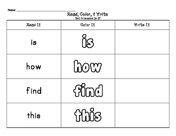 Journeys Kindergarten Sight Words: Read It, Color It, Write It