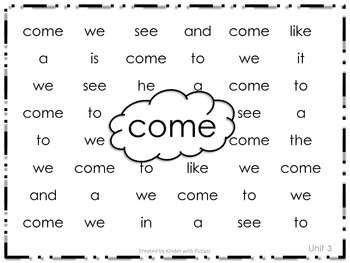 Journeys Kindergarten Sight Words Search and Find Units 3 and 4