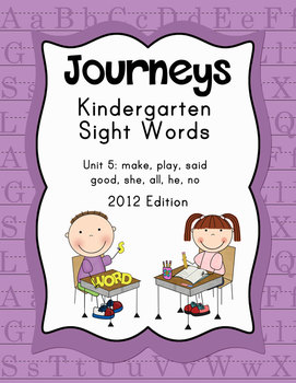 Journeys Kindergarten Sight Words: Unit 5: 2012 Edition