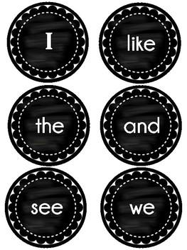 Journeys Kindergarten Sight Words ~ Wall Words ~ Chalkboard Style Black & White