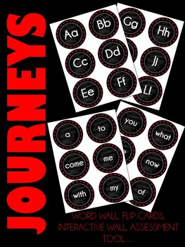 Journeys Kindergarten Sight Words ~ Wall Words (Chalkboard Style Red & Black)