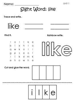 Journeys Kindergarten Sight Words - Word Work: Units 1-3
