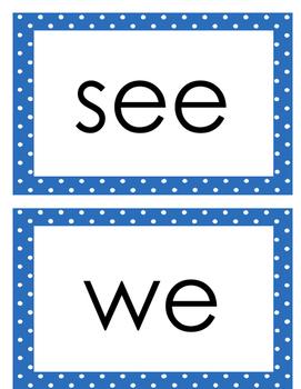 Journeys Kindergarten Sight Words for Word Wall (blue polka dot)