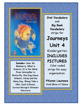 Journeys Kindergarten Unit 4 Big Book Selection Vocabulary Strips with PICTURES
