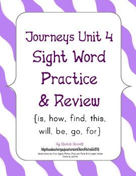 Journeys Kindergarten Unit 4 Sight Word Practice