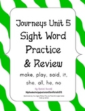 Journeys Kindergarten Unit 5 Sight Word Practice