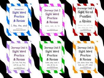 Journeys Kindergarten Units 1-6 Sight Word Practice Bundle