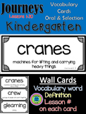 Journeys Kindergarten Vocabulary Wall Cards- Oral & Selection All 30 Lessons
