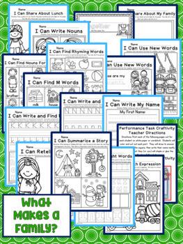 What Makes a Family? Kindergarten NO PREP Printables Journeys Unit 1 Lesson 1