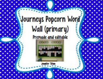 Journeys Kindergarten Word Wall-Popcorn Words-Primary Colors