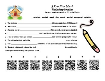 Journeys Lesson 1: A Fine, Fine, School-Vocabulary QR Code