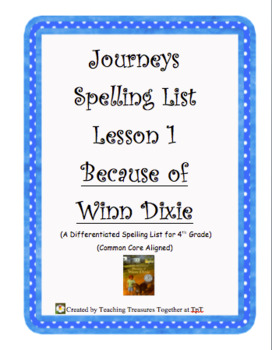 Journeys Lesson 1 Spelling Lists