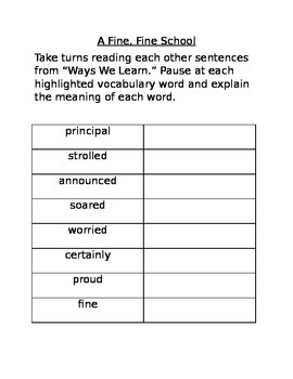 Journeys Lesson 1 Target Vocabulary