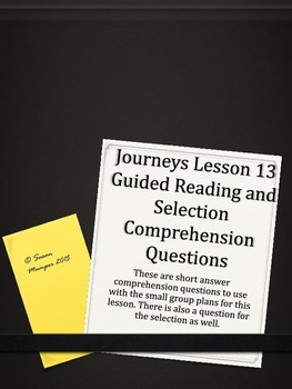 Journeys Lesson 13 Written Comprehension for guided readin