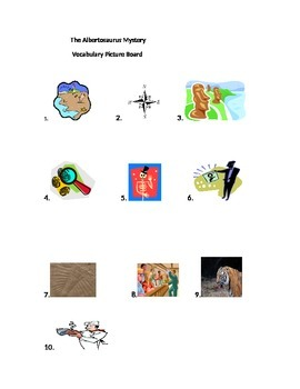 Journeys Lesson 17 The Albertosaurus Mystery Vocabulary Picture Board