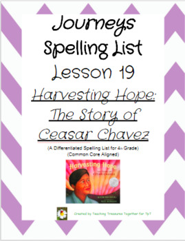 Journeys Lesson 19 Spelling Lists: Harvesting Hope: The Story of Ceasar Chavez