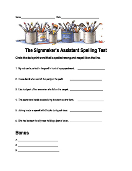 Journeys Lesson 19 The Signmaker's Assistant Spelling Test