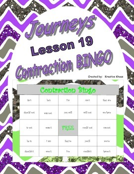 3rd Grade Journeys Lesson 20 Contraction Bingo