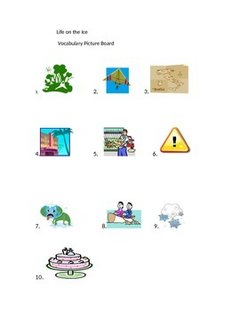 Journeys Lesson 20 Life on Ice Vocabulary Picture Board