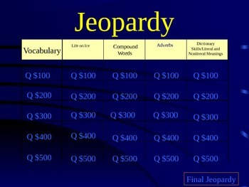 Journeys Lesson 20 Life on the Ice Jeopardy Review