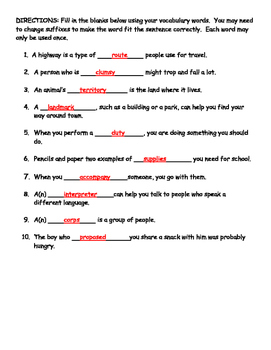 "Journeys Lesson 20 ""Sacagawea"" Vocabulary and Spelling Study Guide"