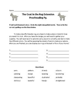 Journeys Lesson 23 The Goat in the Rug Spelling Extension Activities