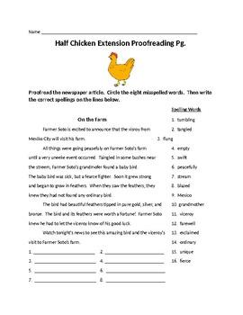 Journeys Lesson 24 Half-Chicken Extension Spelling Word Activities