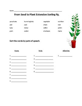 From Seed to Plant Extension Spelling Word Activities