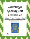Journeys Lesson 25 Spelling Lists - The Fun They Had