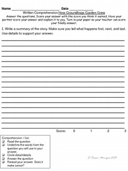 Journeys Lesson 25 Written Comprehension for guided reading & selection