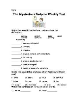Journeys Lesson 26 The Mysterious Tadpole Test