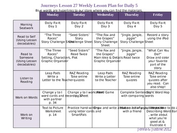 Journeys lesson 27 reader 39 s workshop weekly lesson plan by for Week long lesson plan template