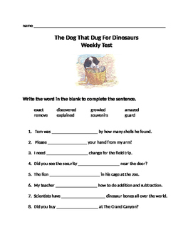 Journeys Lesson 27 The Dog That Dug For Dinosaurs Test