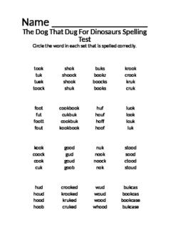The Dog That Dug for Dinosaurs Spelling Assessment