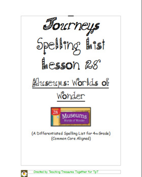 Journeys Lesson 28 Spelling Lists - Museums: Worlds of Wonder