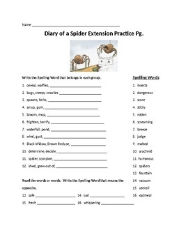 Diary of a Spider Extension Spelling Activities