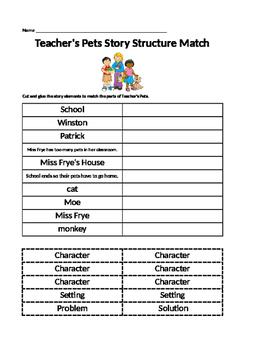 Journeys Lesson 5 Teacher's Pets Story Elements Match