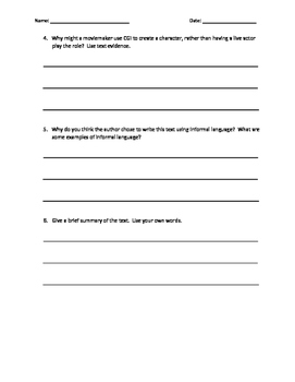 Journeys Lesson 7 Comprehension Questions