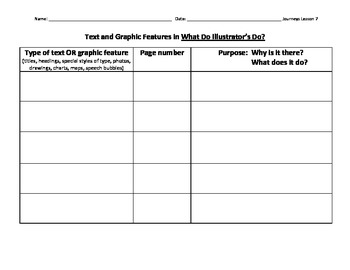 Journeys Lesson 7 Text and Graphic Features Grid