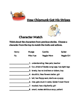 Journeys Lesson 9 How Chipmunk Got His Stripes Character Match