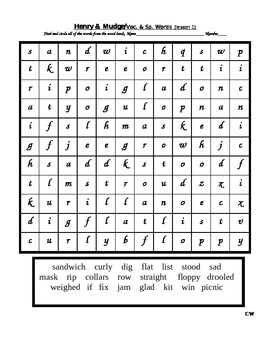 Journey's - Lesson 1 - Henry and Mudge - wordsearch - second grade