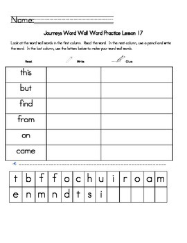 Journeys Lessons 17 High Frequency Word Review