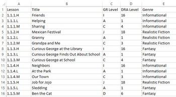 Journeys Leveled Reader Excel Document - Sort by GR Level/Genre/Lesson