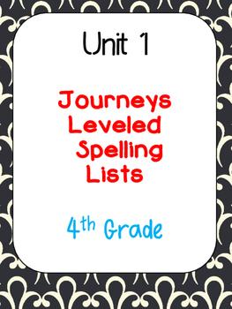 Journeys Leveled Spelling Lists-Unit 1 (4th Grade)