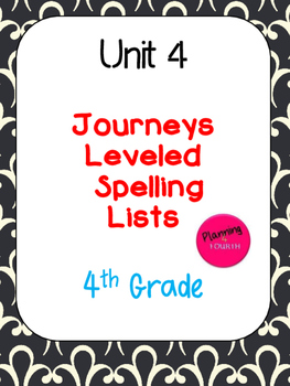 Journeys Leveled Spelling Lists- Unit 4 (4th Grade)