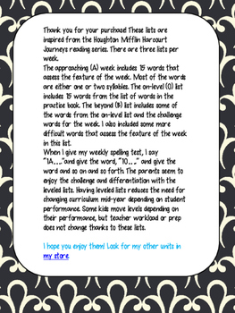 Journeys Leveled Spelling Lists- Unit 5 (4th Grade)
