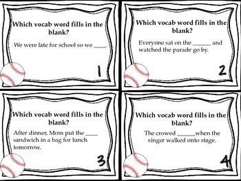 Journeys Luke Goes to Bat Vocabulary, Phonics, and Grammar Task Cards