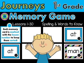 Journeys MEMORY Game- 1st grade~ Lessons 1-30 Spelling and