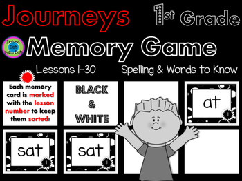 Journeys Memory Game- 1st Grade~ Spelling & Words to Know ~Black & White!